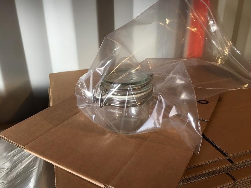 こだわりの梱包 ガラスのジャーをInstapak インスタパックで梱包 3